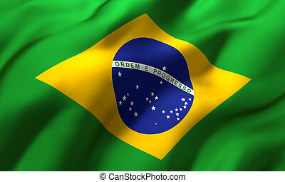 Flag of Brazil blowing in the wind