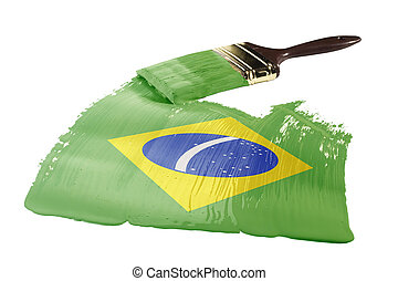 Flag of Brazil - Concept of paint strokes with the colors of...