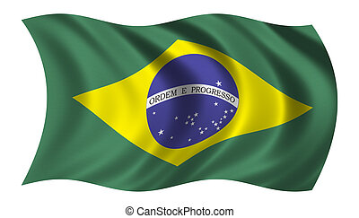 Flag of Brazil waving in the wind