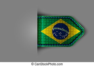 Flag of Brazil in the form of a glossy textured label or ...