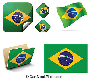 flag of Brazil in the form of banner and flag in the wind as well as a folder or shortcut folder