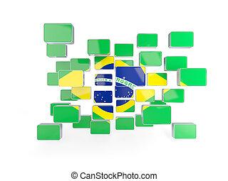 Flag of brazil, mosaic background