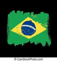 Flag of Brazil on a black background.