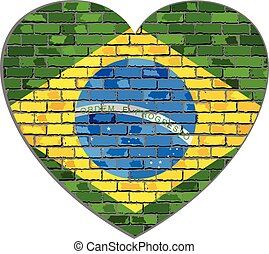 Flag of Brazil on a brick wall in heart shape