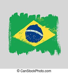 Flag of Brazil on a gray background.