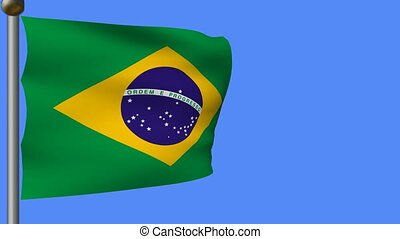 flag of brazil on blue sky - animation of green yellow flag...