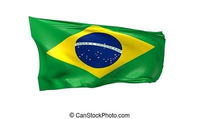 Flag of Brazil on white, 3d animation