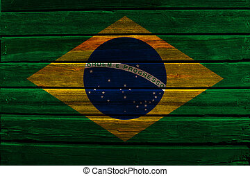 Flag of Brazil on wood