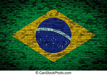 Flag of Brazil painted on brick wall, background texture