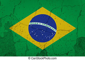 Flag of Brazil painted on Old grunge brick wall, background texture