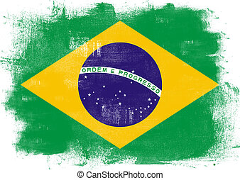 Flag of Brazil painted with brush