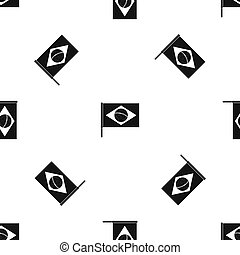 Flag of Brazil pattern seamless black