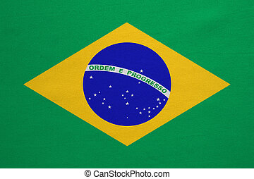 Flag of Brazil real detailed fabric texture