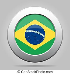Flag of Brazil. Shiny metal gray round button.