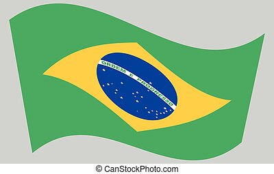 Flag of Brazil waving on gray background