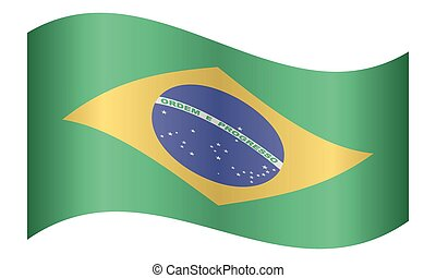 Flag of Brazil waving on white background