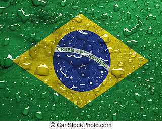 flag of Brazil with rain drops
