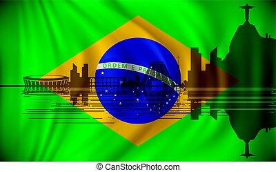 Flag of Brazil with Rio de Janeiro skyline