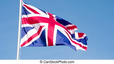 Flag of Britain is Slowly Flying - The Big State Flag is ...