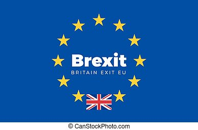 Flag of Britain on European Union. Brexit - Britain Exit EU...