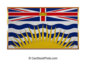 Flag of British Columbia, golden frame, textured