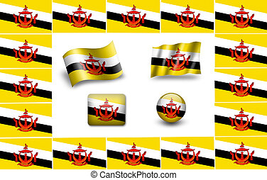 flag of Brunei. icon set