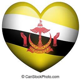 Flag of Brunei in heart shape