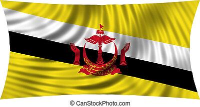 Flag of Brunei waving isolated on white