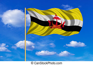 Flag of Brunei waving on blue sky background