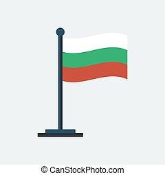 Flag of Bulgaria. Flag stand. Vector illustration