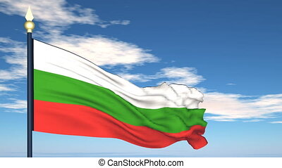 Flag Of Bulgaria on the background of the sky and flying...