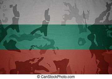 flag of bulgaria on the khaki texture . military concept