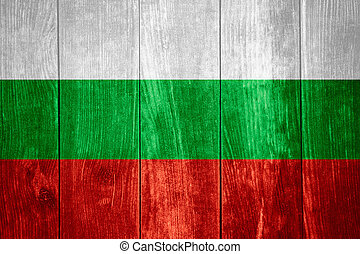 flag of Bulgaria or Bulgarian banner on wooden background