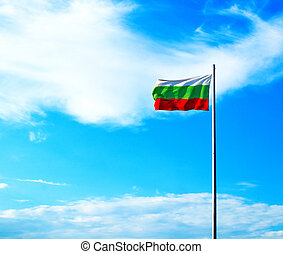 flag of Bulgaria waving in the wind, blue sky background