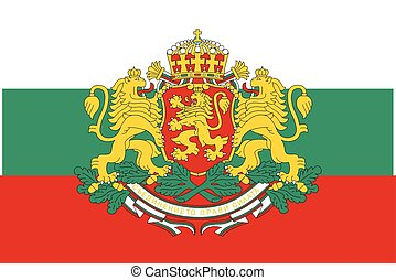 Flag of Bulgaria with Coat of Arms. Vector Format