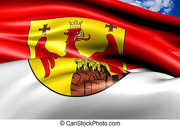 Flag of Burgenland against cloudy sky. Close up.