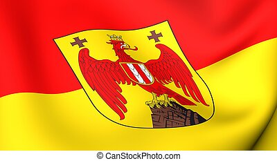 Flag of Burgenland. Close up. Front view.