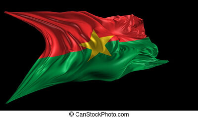Beautiful 3d animation of Burkina Faso flag with alpha channel