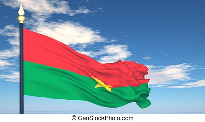 Flag Of Burkina Faso on the background of the sky and flying clouds.
