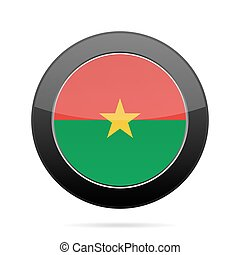 Flag of Burkina Faso. Shiny black round button.