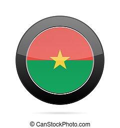Flag of Burkina Faso. Shiny black round button.