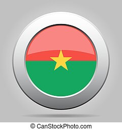 Flag of Burkina Faso. Shiny metal round button.