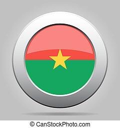 Flag of Burkina Faso. Shiny metal round button.