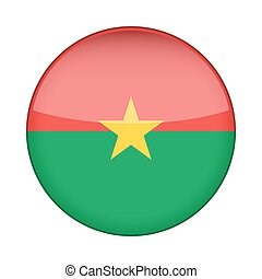 Flag of Burkina Faso. Shiny round button.