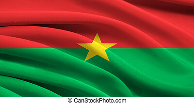 Flag of Burkina Faso waving in the wind
