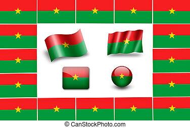 flag of Burkina. icon set