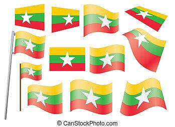flag of Burma - set of flags of Burma vector illustration
