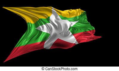 Flag of Burma-Myanmar - Beautiful 3d animation of...