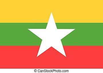 Flag of Burma (Myanmar) vector illustration