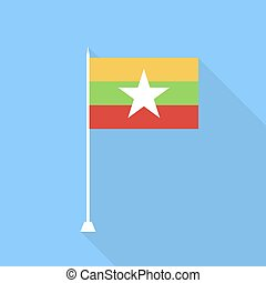 Flag of Burma. Vector illustration .